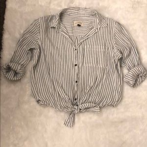 Tie front striped button down